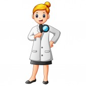 Scientists woman in lab coats holding a magnifying glass