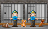 The police guarding a prison cell