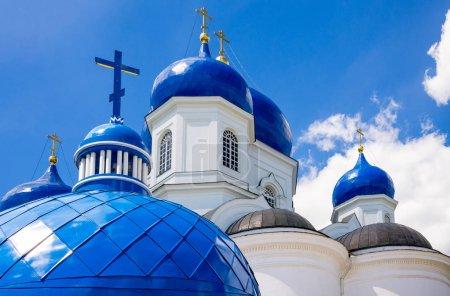 Russia, Bogolyubovo, the domes of the Monastery church