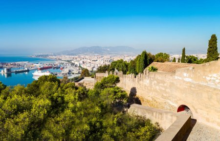 Photo for Spain, Malaga, view over the harbor from the Gibralfaro castle - Royalty Free Image