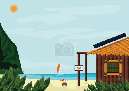 Modern downshifting, life on a tropical island. Opportunity to rethink your life and get clear what you want or find the harmony. A hut with solar panel  and internet connection on the beach