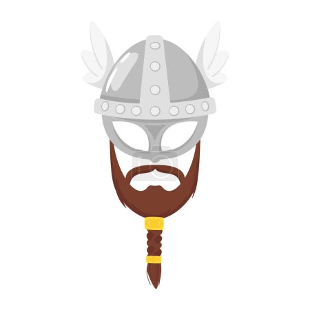 Vector cartoon style viking in horned helmet with ...