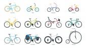 Bicycle flat vector illustrations set