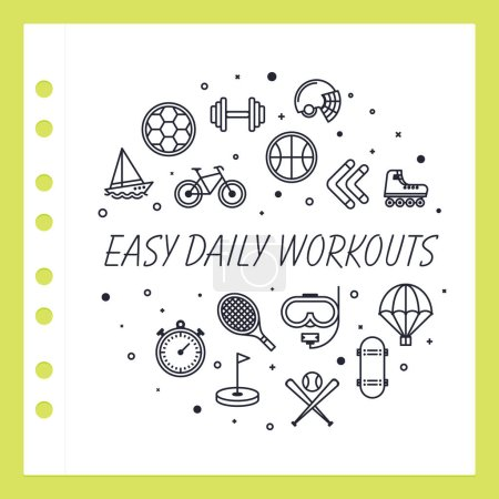 Vector line design concept for easy daily workouts website banner.