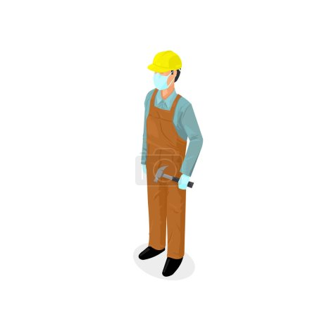 Worker Wearing Virus Protection Medical Face Mask and Rubber Gloves - Covid 19 outbreak - Isometric Icon Vector Illustration.