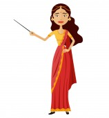 Indian woman presents something with a pointer tutor character vector flat cartoon illustration