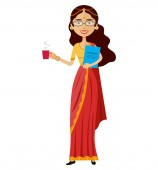 Indian business woman with a cup of tea vector flat cartoon illustration isolated