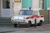 KHARKOV, UKRAINE - APRIL 17, 2013: This is motor carriage for the disabled SMZ-S3D produced by the USSR that parodies an ambulance.