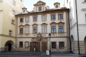 PRAGUE, CZECH - APRIL 24, 2012: This is an old baroque house on Loreta Square, which has not changed its appearance since its construction in the early 18th century.