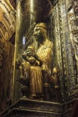 MONTSERRAT, SPAIN - MAY 15, 2017: The Black Virgin is a highly regarded sculptural image of the Virgin Mary with the Child, kept in the Benedictine Monastery of Montserrat.