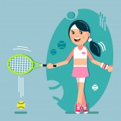 The girl plays tennis Racket hit the ball vector illustration in flat style