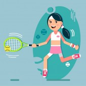 A girl plays tennis Beats the ball with a racket Vector illustration in flat style