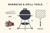 Barbecue grill set Poster bbq diagram and scheme - barbecue grill tools Set of bbq stuff Webber Grill tools for steak house restaurant kitchen poster Hand drawn Vector illustration