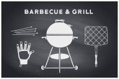 Barbecue grill set Poster bbq diagram and scheme - barbecue grill tools Set of bbq stuff Webber Grill tools for steak house restaurant Black chalkboard hand drawn chalk Vector illustration