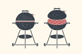 Barbecue grill Poster bbq barbecue grill tools Set of bbq stuff Webber Grill Black and white graphic bbq grill icons on white background Hand drawn sketch Vector illustration