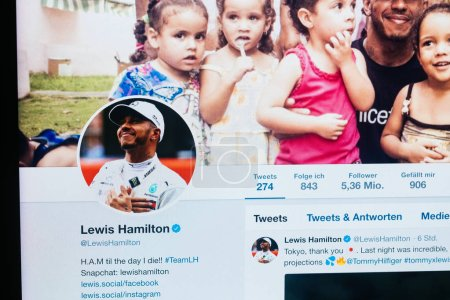 Twitter profile of Lewis Hamilton