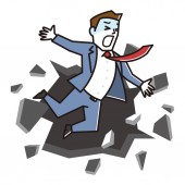 Business concept Business man fall down