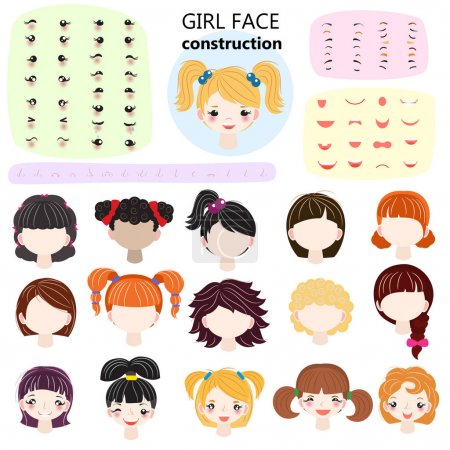 Girl face constructor vector kids character avatar and girlish creation head lips or eyes illustration girlie set of facial elements construction with children hairstyle isolated on white background