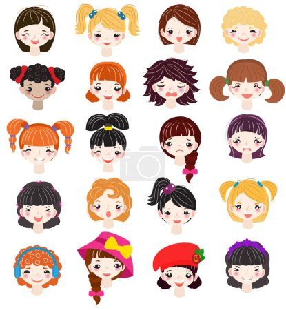 Girl portrait vector female girlie character face of woman with hairstyle and cartoon person girlfriend illustration set of beautiful girlish facial features isolated on white background