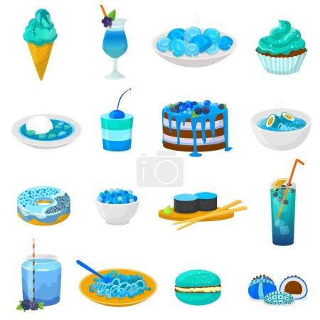 Gâteau ou cupcake bleu vecteur alimentaire avec myrtille et dessert sucré avec boissons bleuâtres illustration ensemble turquoise de beignet d'aigue-marine ou crème glacée bleutée isolé sur fond blanc