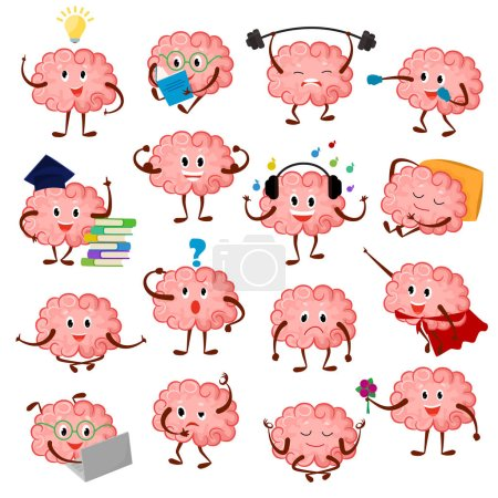 Brain emotion vector cartoon brainy character expr...