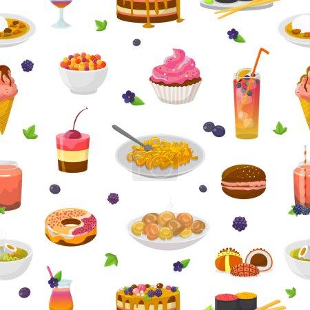 Gâteau ou cupcake bleu vecteur alimentaire avec myrtille et dessert sucré avec boissons bleuâtres illustration ensemble turquoise de beignet d'aigue-marine ou crème glacée bleue fond sans couture .