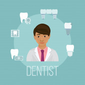Dentist doctor asian face with tooth care icons vector illustration Stomatology dentistry with icons of healthy teeth implants bridge and dental x-ray