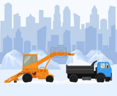 Illustration for Snow removal in big city vector illustration. Two machine work and clean street, road. Snow remove blower loading pile of snow to lorry. Winter cityscape with drifts background. - Royalty Free Image