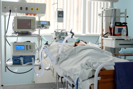 2018-05-28, Grodno Cardiac Regional Medical Centre, Belarus. Intubated patient in critical stance in the intensive care department. Editorial use only.