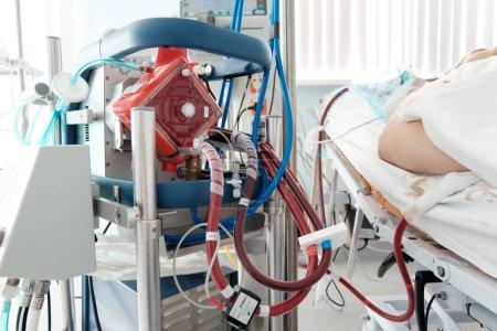 Working ecmo machine in intensive care department