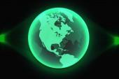 Green world map global hologram vector illustration eps 10