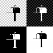Open mail box icon isolated on black white and transparent background Mailbox icon Mail postbox on pole with flag Vector Illustration