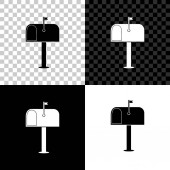 Mail box icon isolated on black white and transparent background Mailbox icon Mail postbox on pole with flag Vector Illustration