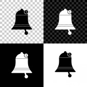 Bell icon isolated on black white and transparent background New Notification icon New message icon Vector Illustration