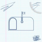 Mail box line sketch icon isolated on white background Mailbox icon Mail postbox on pole with flag Vector Illustration