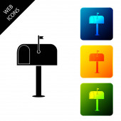 Mail box icon isolated Mailbox icon Mail postbox on pole with flag Set icons colorful square buttons Vector Illustration