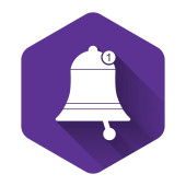 White Bell icon isolated with long shadow New Notification icon New message icon Purple hexagon button Vector Illustration