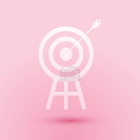 Illustration for Paper cut Target with arrow icon isolated on pink background. Dart board sign. Archery board icon. Dartboard sign. Business goal concept. Paper art style. Vector. - Royalty Free Image