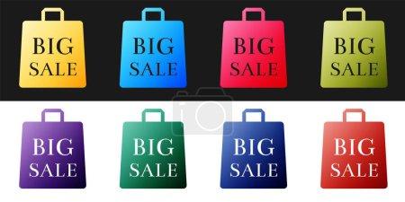 Photo pour Set Sac Shoping avec une inscription Big Sale icône isolée sur fond noir et blanc. Signe de sac à main. Icône sac femme. Signe de sac à main féminin. Vecteur. - image libre de droit