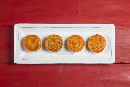 Photo for Mid Autumn Festival Chinese Traditional Pastry Mooncake - Royalty Free Image