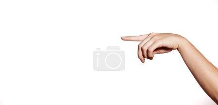 Photo pour Pointeur de main sur le fond blanc. Belle main femelle. Toucher ou presser un doigt - image libre de droit