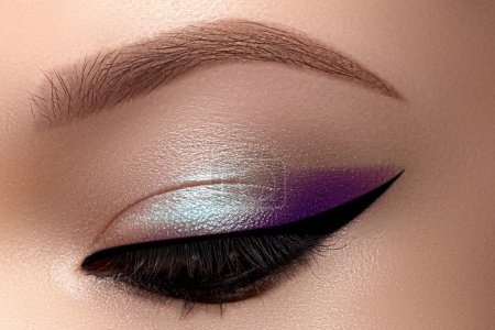 Photo pour Celebrate Beautiful Macro Eyes with Smoky Cat Eye Makeup. Cosmetics and Make-up. Closeup of Fashion Visage with Liner, Purple and Cyan Eyeshadows. - image libre de droit
