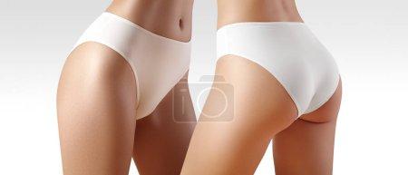 Photo pour Spa et bien-être. Corps mince sain en culotte blanche. Belles hanches sexy avec une peau propre. Remise en forme ou la chirurgie plastique. Fesses parfaites sans cellulite. - image libre de droit