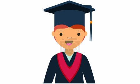 Cartoon character of young male graduate