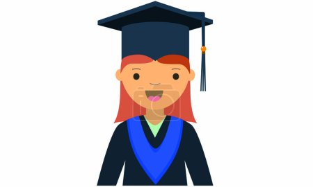 Cartoon of young female graduate character