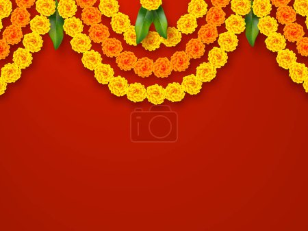 Illustration for Indian holiday background. Floral garland with yellow flowers and mango leaves. Traditional decoration for wedding, hindu holidays. Vector border ring with copy space. - Royalty Free Image