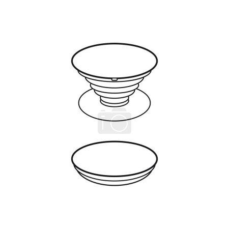 Illustration pour Porte-bague pour téléphone Prise Pop. Porte-accessoire pour smartphone - image libre de droit