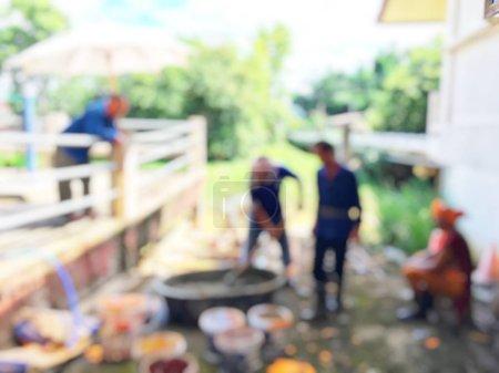 Photo pour Image floue abstraite avec les gens. Ton vintage flou photo prise. - image libre de droit