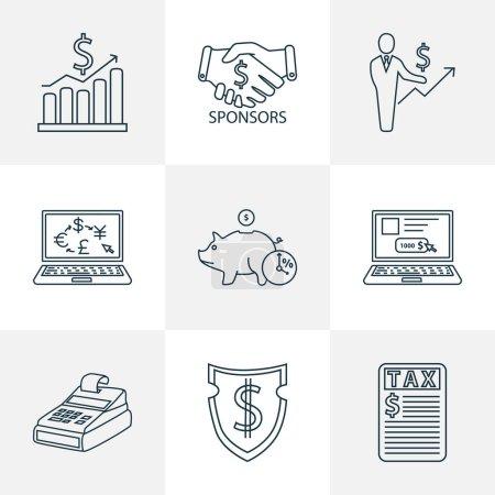 Photo pour Style de ligne d'icônes de l'économie avec sponsors, échange en ligne, taxes et autres éléments de la masse salariale. Isolé icônes de l'économie de l'illustration. - image libre de droit