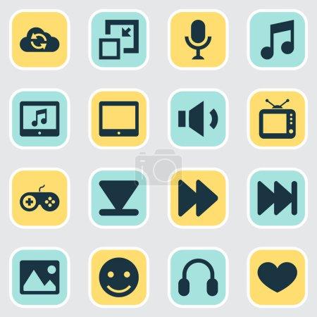 Illustration pour Icônes de musique sertie de mégaphone, ensuite, synchroniser et autre volume vers le bas des éléments. Icônes de musique illustration isolé vector. - image libre de droit